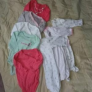 BABY Girl BUNDLE 3-6 mo 8 pc footed pj long sleeve